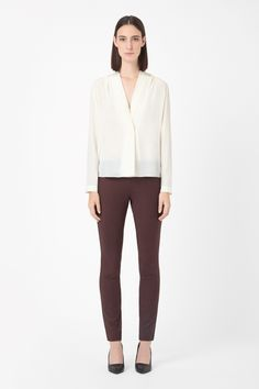 COS   Pleat-neck silk shirt