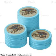 Wood Cowboy Hat Boots Set Of Poker Chips