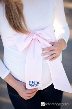 Okay, not for a party, but maybe a gift for a baby shower? Morrow Maternity Sash makes this, but I think if you can sew it's cheaper to make your own sash and pay for the monogram!