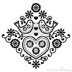 Folk Embroidery Patterns Folk Art Floral Pattern with Birds - Folk design with flowers isolated on white FEATURES: Vector Shapes All groups have names All elements are easy to modify – you can change colours, size Pack include version AI, EPS, JPG Hungarian Embroidery, Folk Embroidery, Learn Embroidery, Machine Embroidery, Art Floral, Motif Floral, Embroidery Designs, Embroidery Flowers Pattern, Flower Patterns