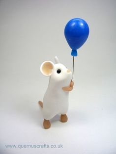 White Mouse with Blue Balloon Sculpture Ornament