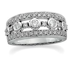 Replace the center stones with sapphires  Diamond Anniversary Wedding Band