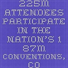 225M attendees participate in the nation's 1.87M conventions, conferences, congresses, trade shows and exhibitions, incentive events and corporate/business meetings Of the 1.87M meetings, 1.3M are classified as corporate or business meetings 85% of meetings are conducted at venues with lodging, generating more than 275M room nights Of the 225M attendees, 179M are delegates, 18.5M are exhibitors and 27M are others, including event organizers, staff, press, etc.