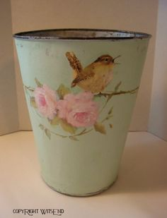 'A GARDEN SONG', Flower can bucket  painting on vintage mint green pail wren bird and pink roses. By WitsEnd, via Etsy. SOLD