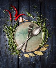 Spoon and Fork on plate with flavors by VICUSCHKA on @creativemarket