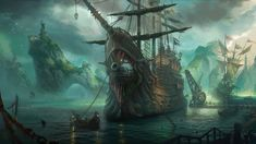 This HD wallpaper is about brown and black pirate ship, League of Legends, Bilgewater, fantasy art, Original wallpaper dimensions is file size is League Of Legends, Fantasy Art Landscapes, Fantasy Landscape, Fantasy Places, Fantasy World, Dreamland, Pirates Of The Caribbean, Ship Art, Sailing Ships