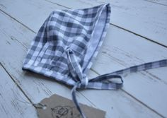 Girls Bonnet White Grey Check by LillyRose2008 on Etsy