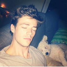 GRANT GUSTIN / ACTOR !SLEEPING WITH DOG !