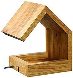 Luxus-Vogelhaus 46850e Eichenholz Vogelfutterhaus zum Aufhängen mit Satteldach und Anflugstange: Amazon.de: Haustier