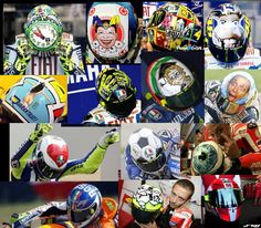 VR has a rich history for his unique & stunning helmet designs with a story behind each Agv Helmets, Racing Helmets, Motorcycle Helmets, Valentino Rossi Helmet, Valentino Rossi 46, Vale Rossi, Motorcross Bike, Guy Martin, Custom Helmets