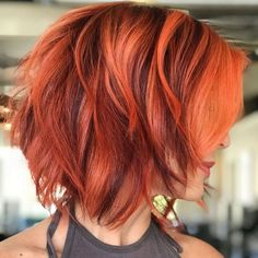 100 Mind-Blowing Short Hairstyles for Fine Hair Burgundy And Tangerine Piecey Bob Cute Hairstyles For Short Hair, Short Hair Cuts For Women, Bob Hairstyles, Short Hair Styles, Short Haircuts, Boy Haircuts, Female Hairstyles, Teenage Hairstyles, Hairstyles Videos