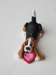 Basset Hound dog Valentines ornament polymer by HeartOfClayGirl 1d04fcf095d