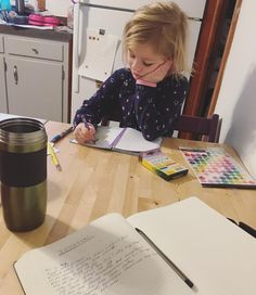 I've met my match in this one.  I'm journaling she's trying to teach herself to write. She says she doesn't need my help and she will figure it out.  Constantly creating for the love of it. Then gives it away. (I'm a little emotional today.  Wolf moon got me like...) #makestuff #helpersgunnahelp