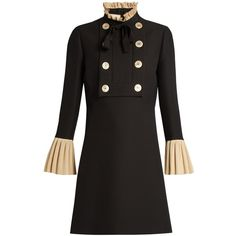Ruffle-trimmed wool and silk-blend mini dress Gucci MATCHESFASHION.COM ($895) via Polyvore featuring dresses, ruffle mini dress, flutter-sleeve dress, short ruffle dress, mini dress and flounce dress