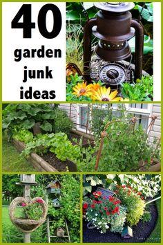 How to grow JUNK in your garden 40 garden junk ideas ~ create a one-of-a-kind garden using found items Vintage Garden Decor, Diy Garden Decor, Vintage Gardening, Garden Crafts, Garden Projects, Art Projects, Outdoor Projects, Flea Market Gardening, Garden Junk