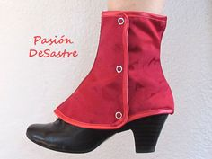 Victorian Short Spats Red brocade steampunk one by PasiondeSastre, €20.00