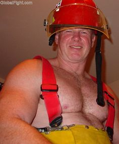 hairy firefighter muscles
