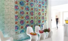 """Elitis Persepolis faded by the sun pastel colored botanical panoramic mural wallcovering / wallpaper.  Sold by 5 panels of 27"""" width X 118"""" height roll"""