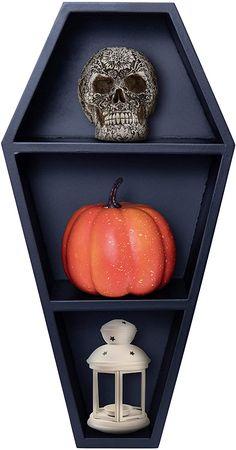 Manny's Mysterious Oddities Coffin Shelf - Spooky Gothic Decor for... Creepy Home Decor, Creepy Halloween Decorations, Goth Home Decor, Spooky Decor, Home Goods Decor, Diy Halloween, Wall Mounted Wood Shelves, Wooden Shelves, Wall Shelves