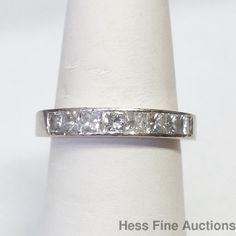 Heavy 14k White Gold Fine Princess Cut Diamond Channel Set Anniversary Band Ring #Band