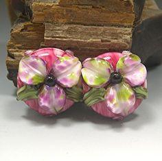 HANDMADE LAMPWORK Glas Bead Set Ohrring Beads paar von DonnaMillard