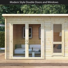 BillyOh Tianna Log Cabin Summerhouse with Side Store - Log Cabins - BillyOh Store Modern Windows, Modern Door, Solid Doors, Double Doors, Garden Buildings Direct, Summer House Interiors, Shed Makeover, Tongue And Groove Panelling, Garden Cabins
