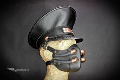 Leather Officer Cap Steampunk Hat Military Hat