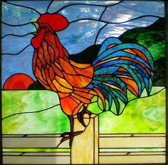 Rooster Stained Glass Panel | Recent Photos The Commons Getty Collection Galleries World Map App ...