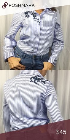 White and blue embroidered shirt White and blue stripes flower embroider shirt with rhinestones 2September Tops Blouses