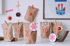 Adventskalender-Set aus braunen Papiertüten und roten Zahlen für eine fröhliche Adventszeit / advent calendar set made of paper bags by viergezeiten via DaWanda.com