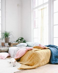 Bright bed on the floor