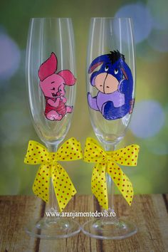 Pahare pictate manual personaje Piglet si Eeyore din Winnie the Pooh