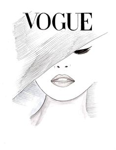 Watercolor Vintage 1950's Vogue Poster Vogue Face Cover by Zoia