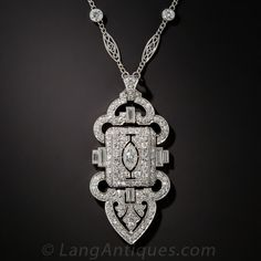 Art Deco Platinum Diamond Lavaliere Necklace