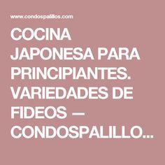 COCINA JAPONESA PARA PRINCIPIANTES. VARIEDADES DE FIDEOS — CONDOSPALILLOS. FOOD PHOTOGRAPHY