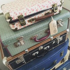 Love my friend's collection of suitcases! #photo #vintage #travel #travelbloggers #cute #suitcase by suzie81speaks