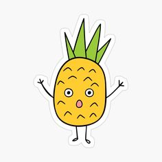 'Cute pineapple Character Sticker' Sticker by CarmelaGiordano Cute Pineapple, Transparent Stickers, Glossier Stickers, Sell Your Art, Sticker Design, Zipper Pouch, My Arts, Art Prints, Printed