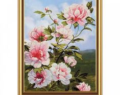 Modern cross stitch kits and cozy DIY craft kits by TayaNeedle Cross Stitch Fabric, Cross Stitching, Cross Stitch Patterns, Paper Embroidery, Embroidery Designs, Peony Flower, Pink Flowers, Art Origami, Art Du Fil