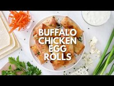 These Buffalo Chicken Egg Rolls, filled with chicken, carrots, scallions, hot sauce and blue cheese make the perfect appetizer! Oven or air fryer!