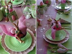 Funny Rose and Green Easter Table Decoration