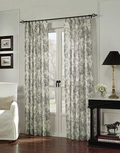 Hampton Toile Pinch Pleat Window Curtain Panel Mocha / Curtainworks.com