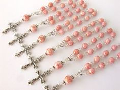 Rosary Favors Set of 10  Pink Baptism Favors  by AngelRosaries