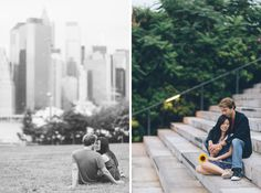 Laura & Jason sit on steps during their engagement session in DUMBO Brooklyn. Captured by NYC wedding photographer Ben Lau.