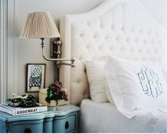 tufted headboard (Ballard Designs) + monogram pillows (Leontine)