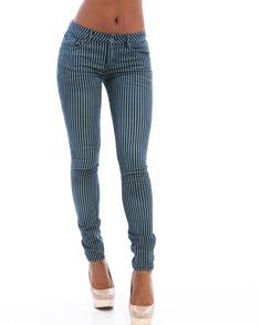 MOD 20 Women's Stripe Skinny Jeans
