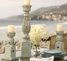Check out how to create distressed pillar candle holders from some wood candle holders! Large Candles, Diy Candles, Pillar Candles, Beeswax Candles, Wooden Candle Holders, Candle Stand, Diy Wood Projects, Furniture Projects, Candlesticks