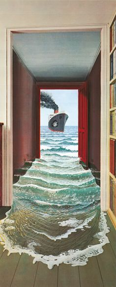 Le Secret Mural image * I think if this is what someone saw when they shut your bathroom door.they may spring a leak! Very neat - door murals. Illusion Kunst, Illusion Art, Magic Realism, Realism Art, Floor Murals, Wall Murals, Secret Walls, Inspiration Artistique, Canadian Painters