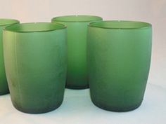 glass tumblers made from Perrier water bottles