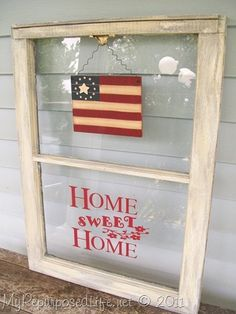 repurposed old window ~ Home Sweet Home
