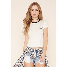 Forever 21 Women's  Embroidered Panda Tee ($13) ❤ liked on Polyvore featuring tops, t-shirts, round neck t shirt, panda bear t shirt, short sleeve t shirt, panda tee and forever 21